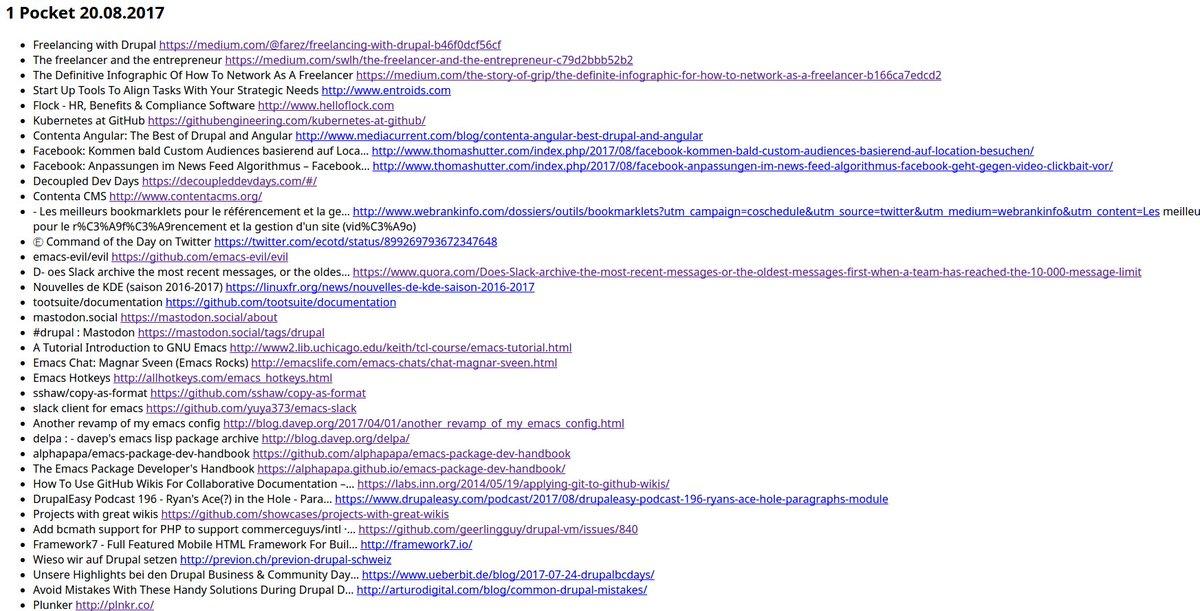 #Emacs - #Pocket output to #orgmod and push to #github #wiki  https:// github.com/psnc/drupal/wi ki/pocket-2017-08-20 &nbsp; … <br>http://pic.twitter.com/vP0BO0Wafd