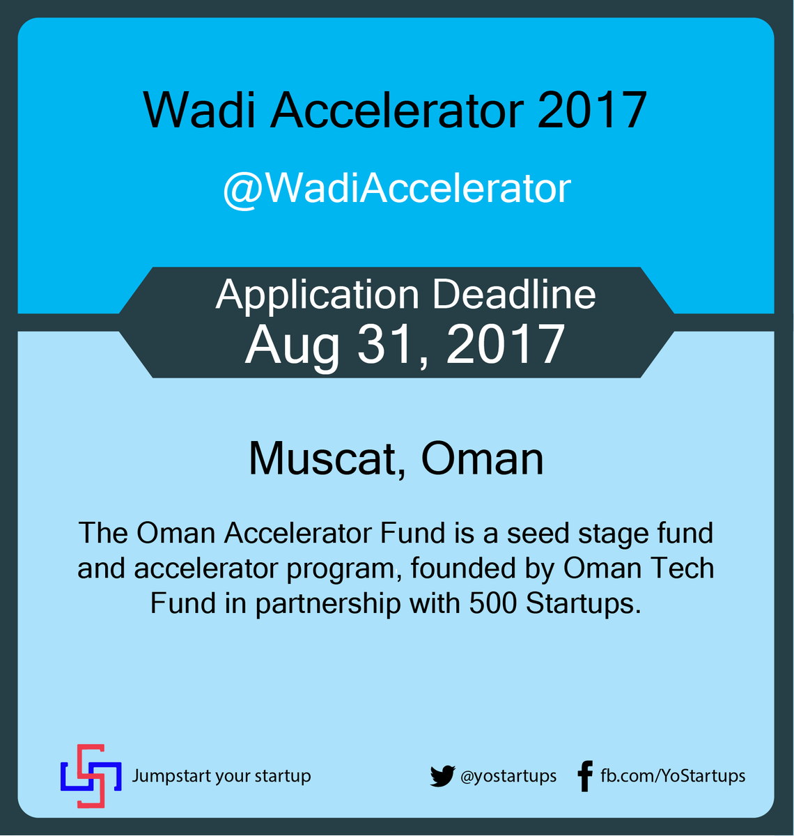 Checkout @WadiAccelerator seed stage fund and #accelerator by Oman Tech Fund #YoStartups  https:// goo.gl/fVBjT7  &nbsp;  <br>http://pic.twitter.com/cva1Q1wUDJ