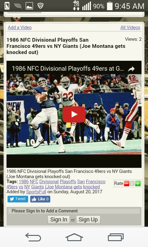 1986 NFC Divisional Playoffs San Francisco 49ers vs NY Giants #giants #49ers &gt;  http://www. sportsfull.com/videos.htm?a=&amp; act=view-video&amp;id=E42D377E-C76D-4BEA-AE75-8EF4E10E7A76 &nbsp; … <br>http://pic.twitter.com/teSO4T5EnE