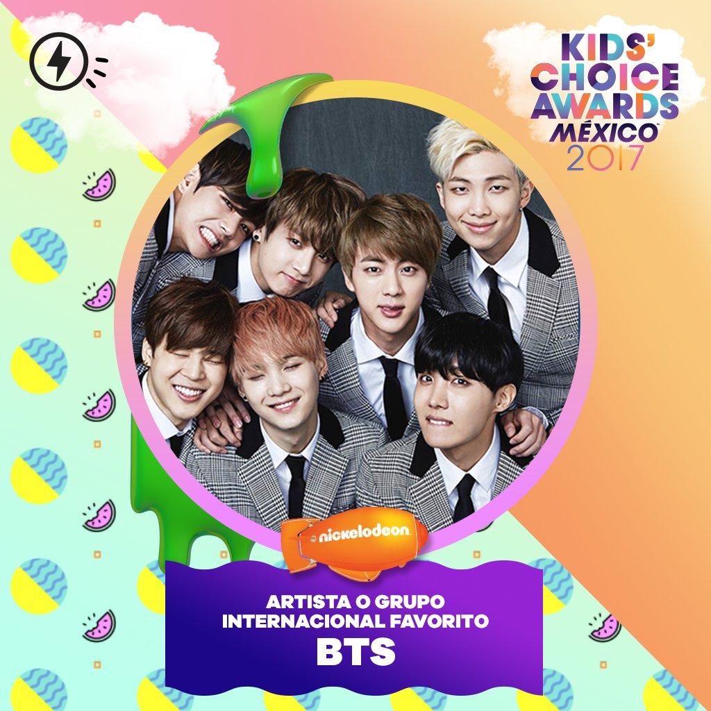 #BTS ชนะรางวัล Favorite International Artist or Group จากงาน Kids&#39; Choice Awards Mexico  ©  https://www. soompi.com/2017/08/20/bts -wins-favorite-international-artist-group-award-kids-choice-awards-mexico/ &nbsp; … <br>http://pic.twitter.com/DtEya4frTk
