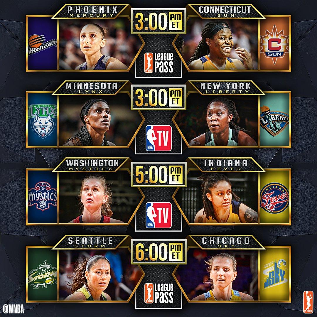 Today's 4-game @WNBA slate includes an @NBATV doubleheader! #WatchMeWo...