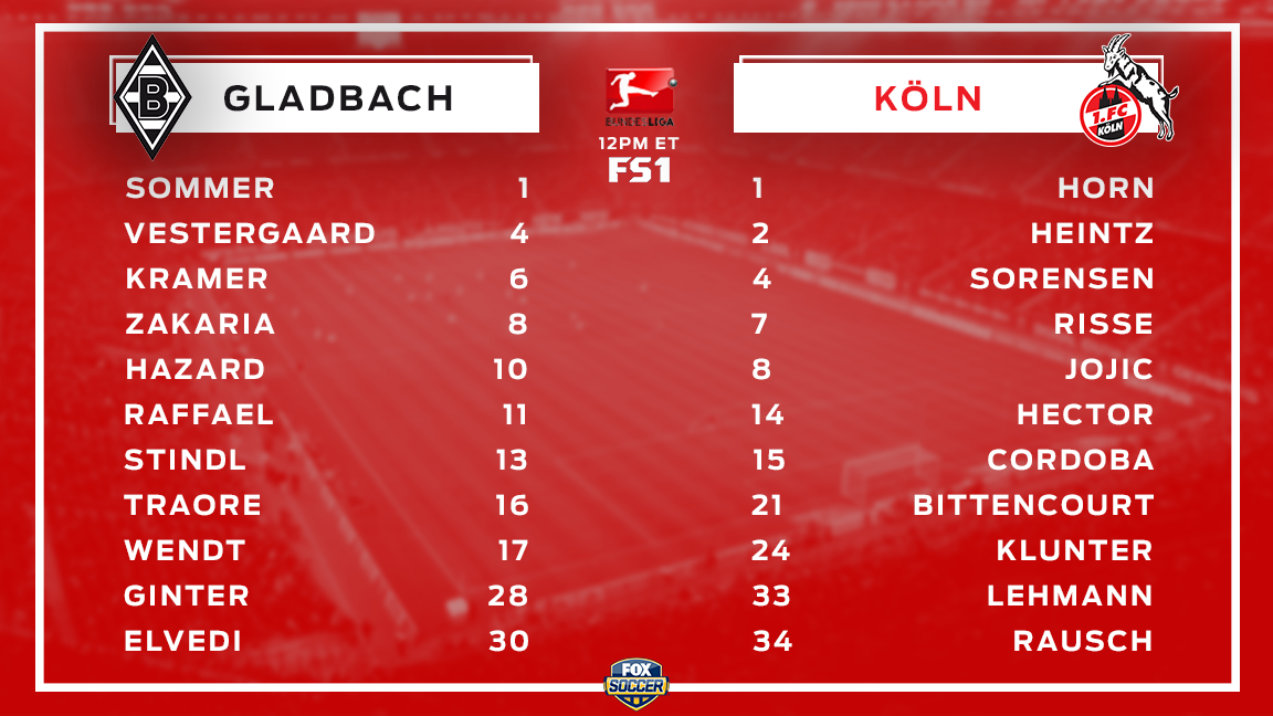 Take a look at your lineups for the Rhine Derby, coming up on @FS1.  W...