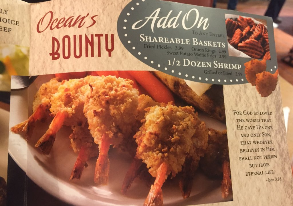 MENU LAYOUT TIP: put the Bible verse next to the photo of the fried shrimp basket