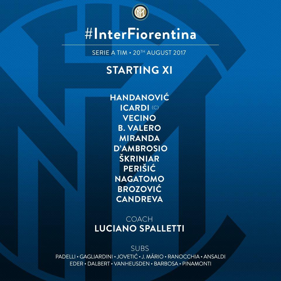 Ecco i nostri 11 per #InterFiorentina! 👇  #InterIsComing #ForzaInter ⚫...