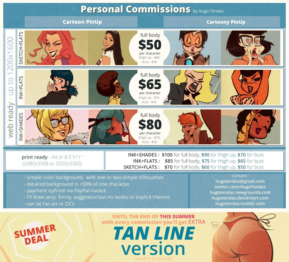Update on personal #commissions + Summer Deal for #gratis tan line version, where outfit allows.  #cartoon #pinup #drawing #digitalart<br>http://pic.twitter.com/6HxMD1DRc5