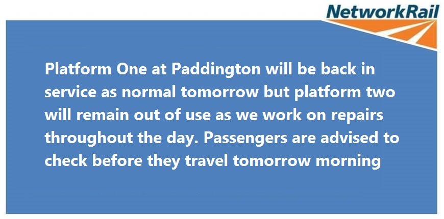 test Twitter Media - Update regarding partial derailment at London Paddington Station. Please check with @nationalrailenq for service information. https://t.co/gqwKxYxt4F