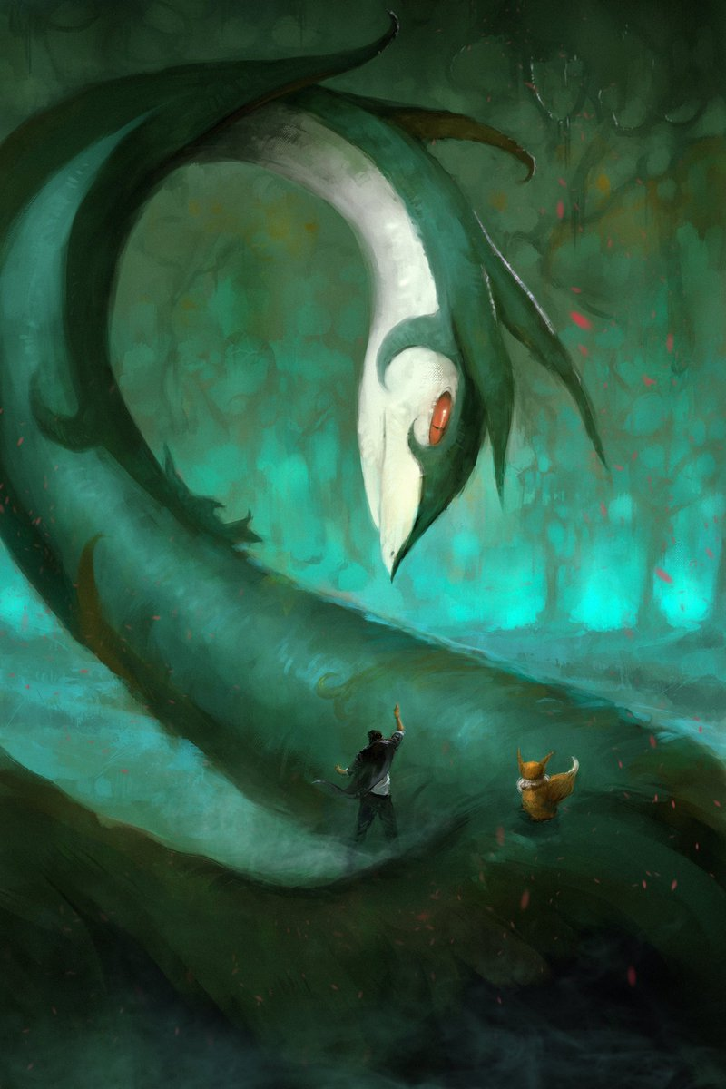 Gift painting I did for a friend, he&#39;s a big Pokemon fan #serperior #eevee #pokemon #digital #illustration<br>http://pic.twitter.com/s9vxjpe0Bn