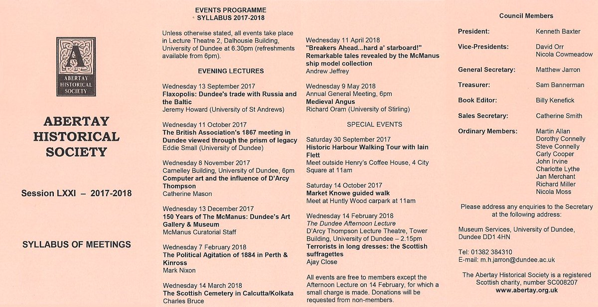 Our 2017-18 programme. We start on Weds 13th September - hope to see you there #Dundee #Angus #Perthshire #Fife #localhistory<br>http://pic.twitter.com/l19A5IZrcQ