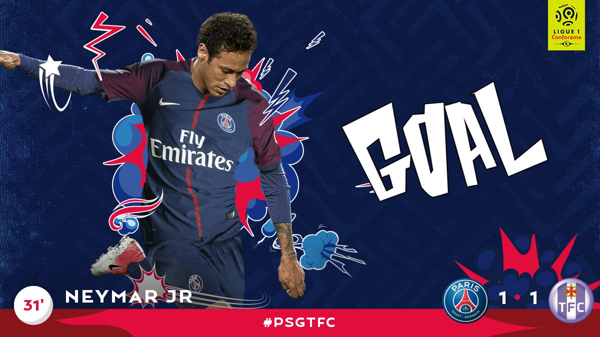 31' GOOOOOOOAAAAAALLL PSG!! @neymarjr evens it up and scores in his Pa...