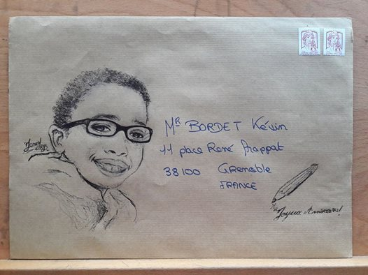 #drawing to #laurentbordet #portrait de #kevinbordet #solidarité #handicap #autism #peace #love #egality #art #birthdaycard @francebleu<br>http://pic.twitter.com/R38govNONt