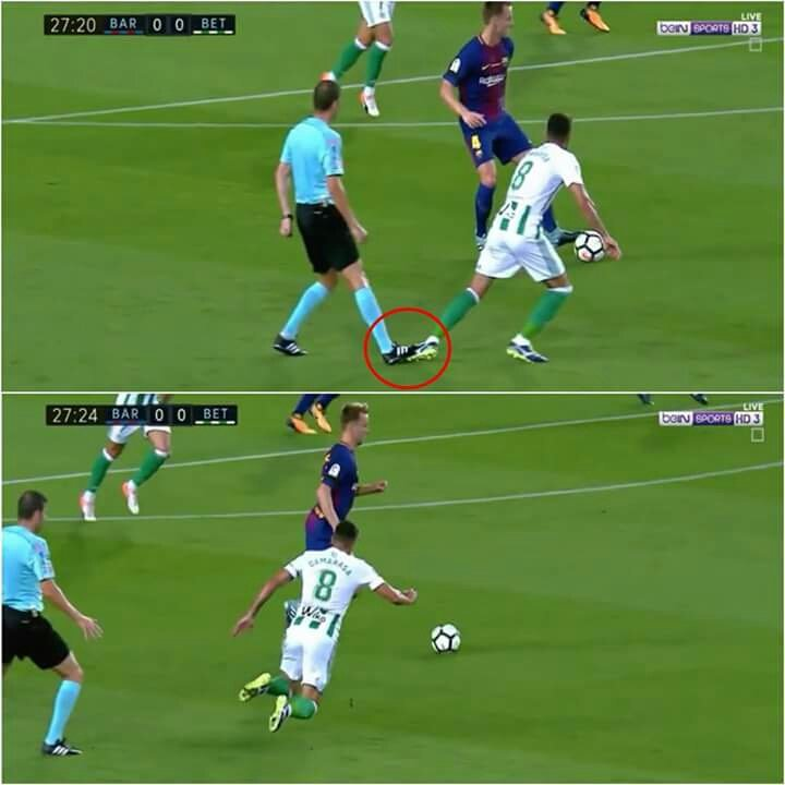 Ref tackling for #Barca #LaLiga #BarcaBetis<br>http://pic.twitter.com/QMJma21NMX