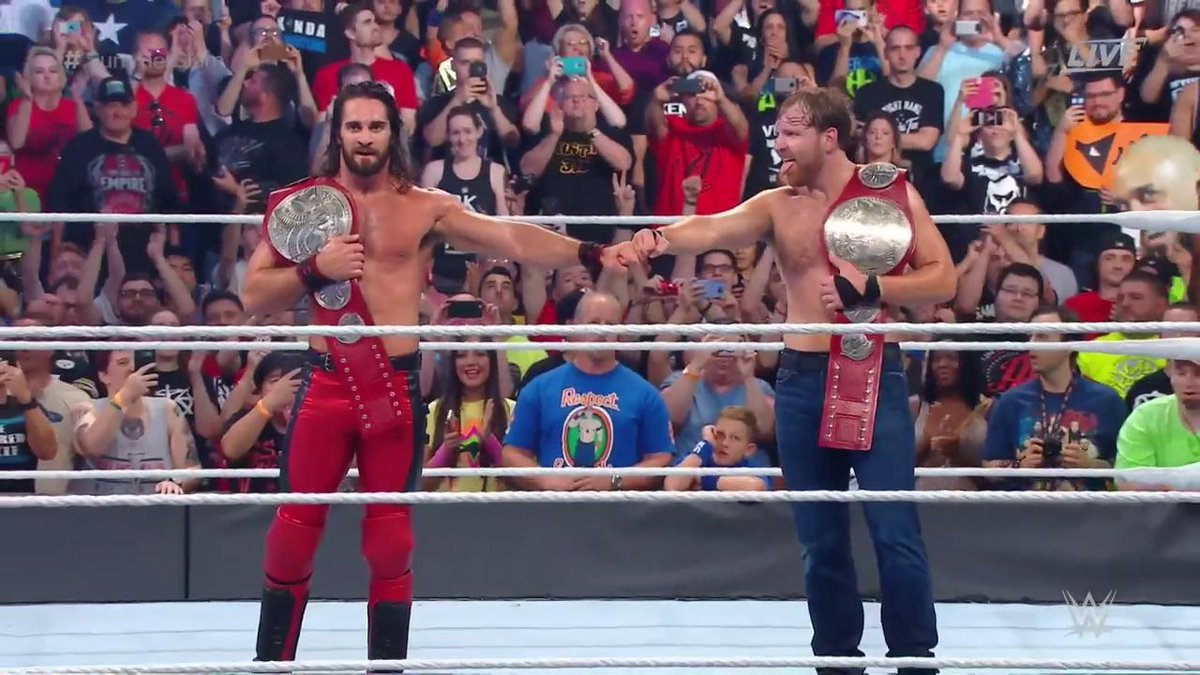 The hounds are back on top. #SummerSlam @TheDeanAmbrose @WWERollins ht...
