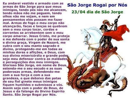 Salve e obrigada a São Jorge guerreiro e falanges guerreiras de defesa e total invencibilidade elevada! Dê-nos proteção e sinais verdadeiros