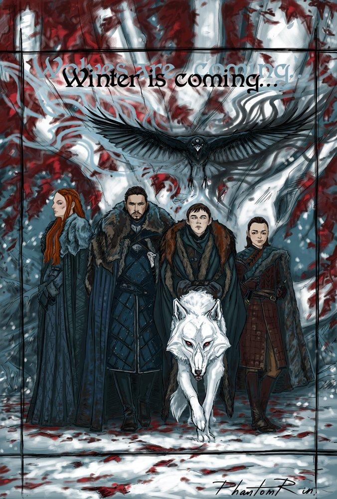 Wolves are coming.  #SansaStark #JonSnow #BranStark #AryaStark #Ghost #wolf #raven #winter #fanart @GameOfThrones #art #illustration #TV<br>http://pic.twitter.com/5o2WYbZOMe
