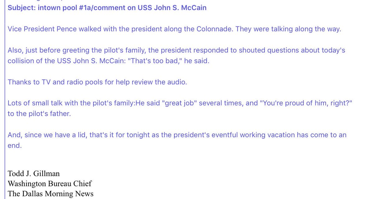 Trump, in response to shouted questions from press about USS McCain co...