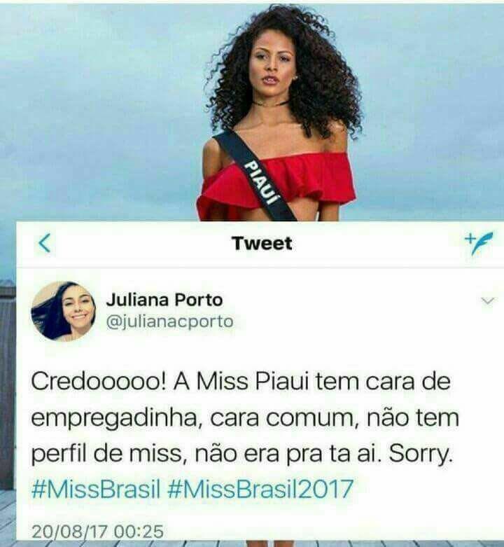 Nem a Miss Brasil fica livre de seres  lamentáveis, com horriveis preconceitos. Ela que envie 😘no ombro pra inveja. E o Br dê fim ao ódio.