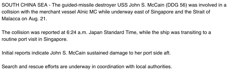 DEVELOPING: Search-and-rescue effort underway after USS McCain collides with merchant ship near Singapore, Navy says https://t.co/O0pXTKDQ3y