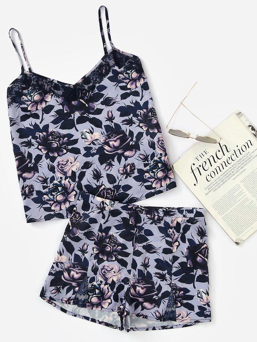 Lace Detail Cami And Shorts Pajama Set     http:// ow.ly/SLO930euJcE  &nbsp;   #flockbn #87RT #fashion #fashionblogger #smartsocial #likeforlike #RT4RT<br>http://pic.twitter.com/TLvDb7sed9