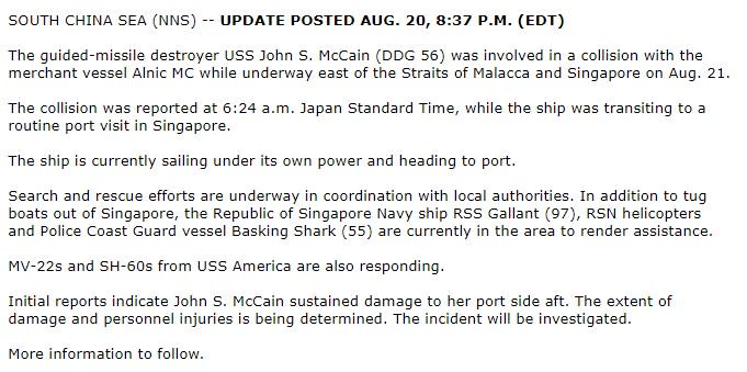 #BREAKING: Update 1 on #USSJohnSMcCain collission. More to follow - ht...