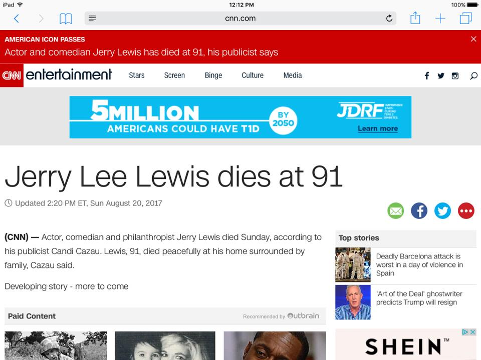 CNN thinks Jerry Lee Lewis died today