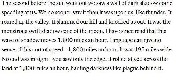 annie dillard total eclipse Style of dillard: stories from sentence to theme: analyzing dillard's form annie dillard's work often tells aspects of her thematic total eclipse - annie.