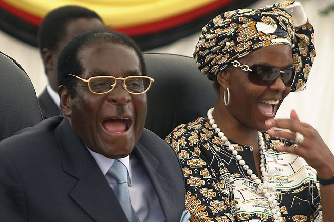 #Mugabe and #GraceMugabe laugh in the faces of #SouthAfricans thinking...what a #stupid bunch of #ANC #morons.<br>http://pic.twitter.com/VlrWs8C8gZ