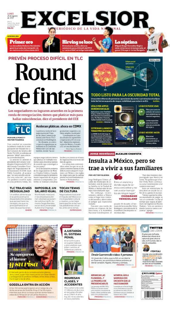 #21Ago EXCELSIOR de #México reseña lo ocurrido con alcalde Jorge Rodrí...