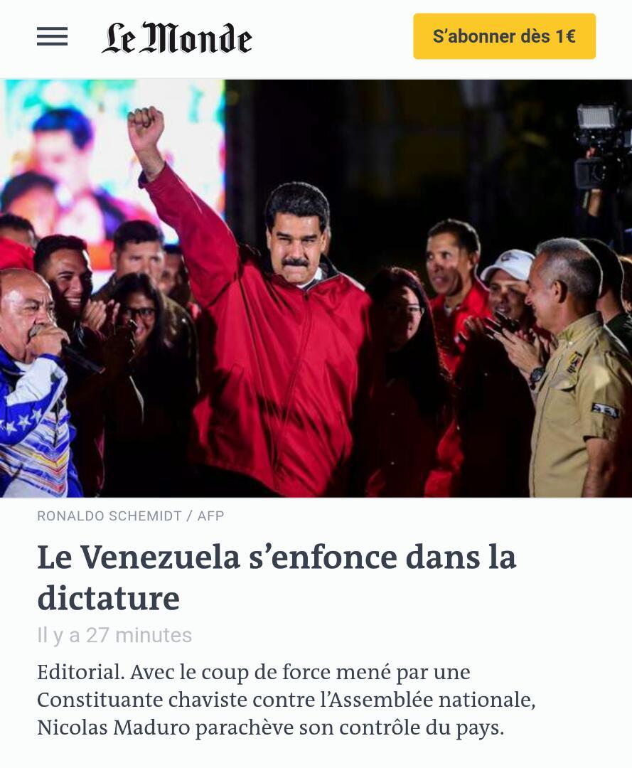 #21Ago LE MONDE en FRANCIA   'Venezuela se hunde en la dictadura'. htt...