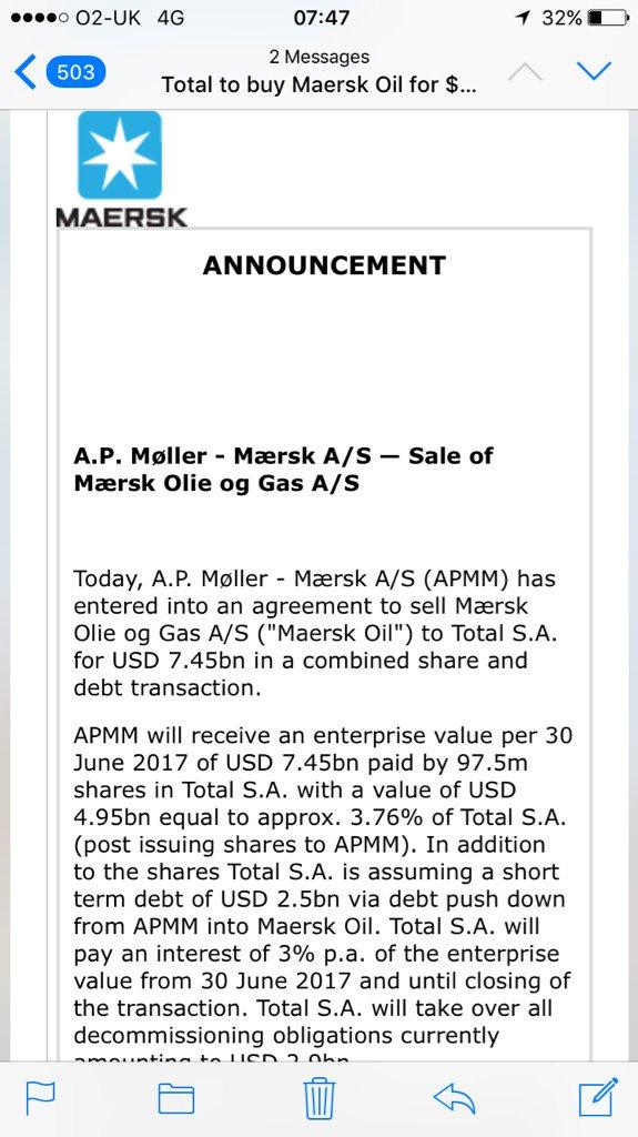 BIG OIL GETS BIGGER: Total to buy Maersk Oil in a $7.5bn deal #OOTT ht...