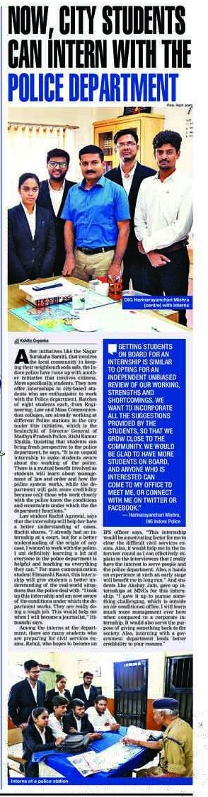 Now Indore&#39;s students can intern with Police Department. Read my story on it. @hariips @CRIMEwatchind @citizencoporg   #TOI #IndoreTimes <br>http://pic.twitter.com/xSgOIbfyNt