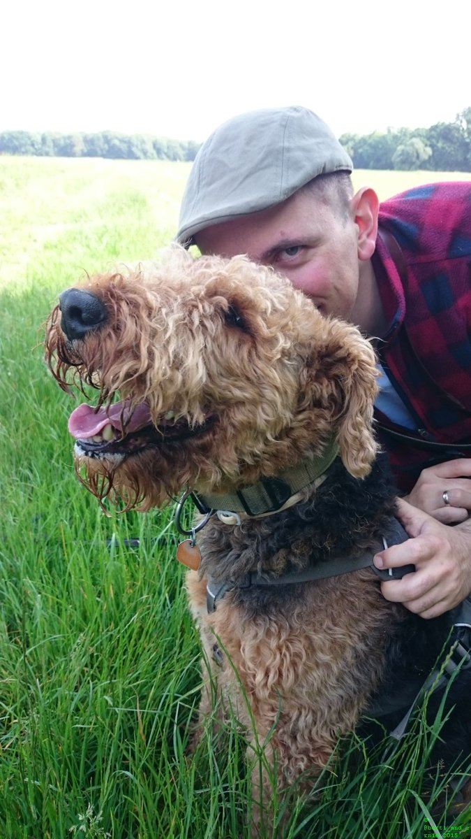To make my #Airedale #smile I joined him in this #picture. <br>http://pic.twitter.com/RHLRDfHO7H