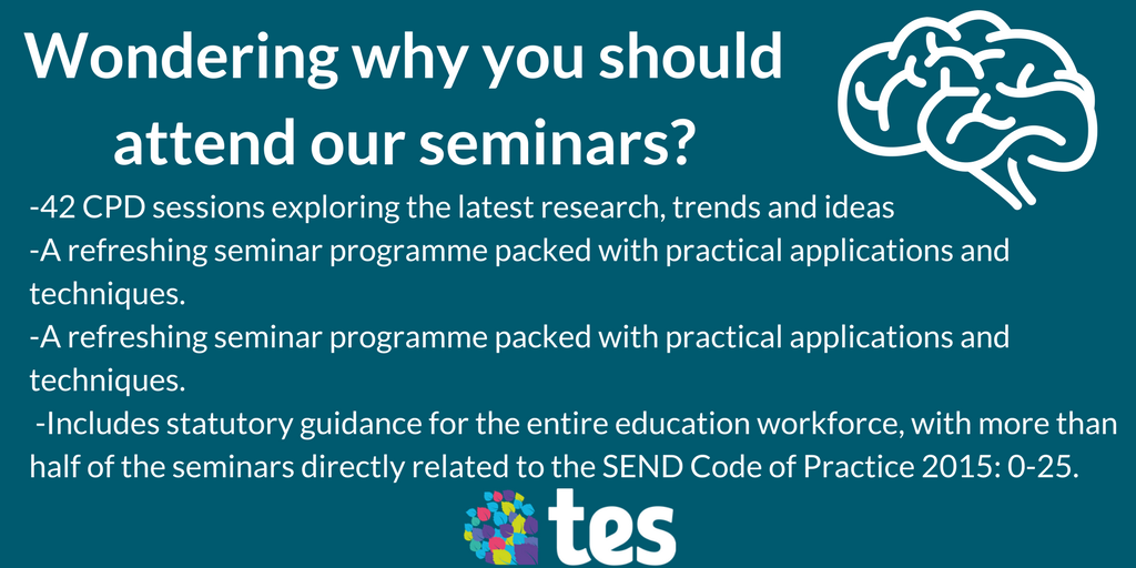 All 42 of our seminars are run by #SEN experts and are CPD certified. Register now before they sell out:  http://www. tessenshow.co.uk  &nbsp;  <br>http://pic.twitter.com/WYcSyarXGg