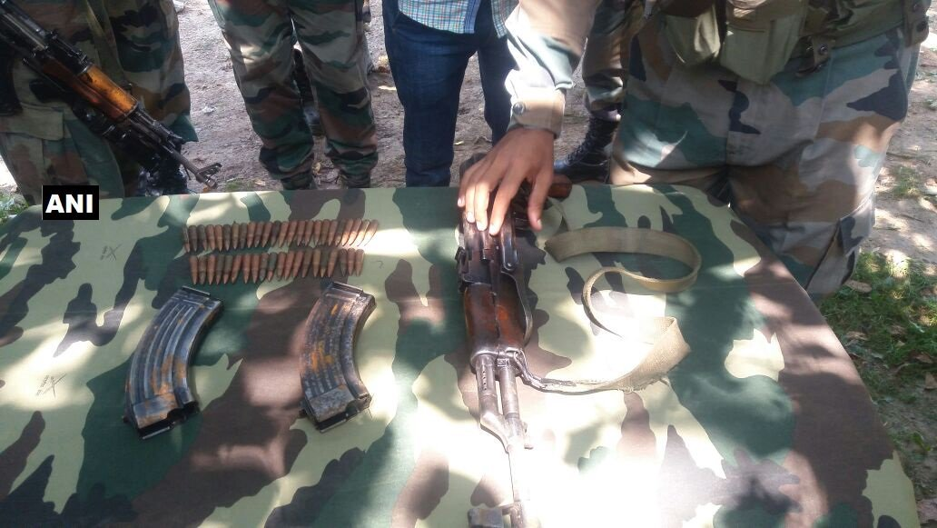 Security forces bust terrorists' hideout in Ganderbal's Akhal in J&K; 1 AK 56 rifle & 2 magazines seized, reports ANI