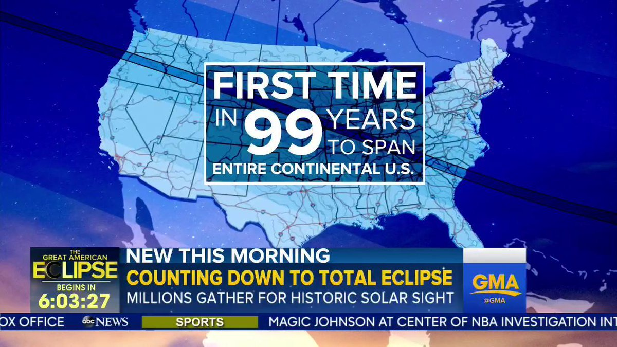 This is the first time in 99 years that a total #SolarEclispe will span the entire continental United States.