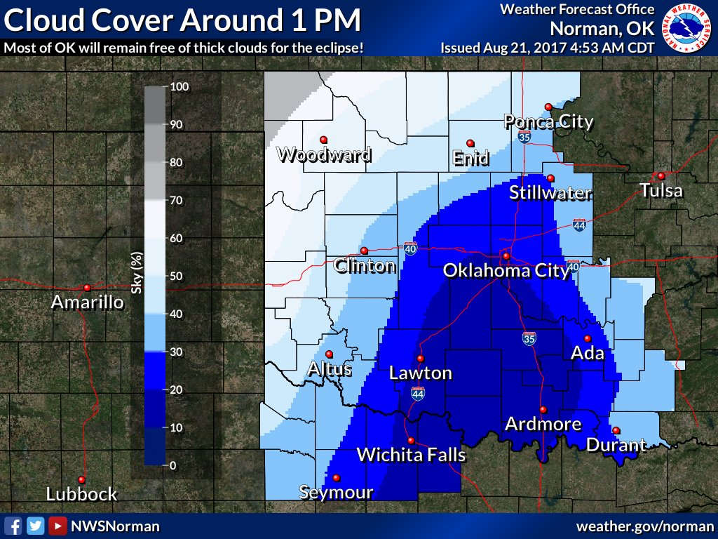 Expected cloud/sky cover (%) around 1 PM. #okwx #texomawx