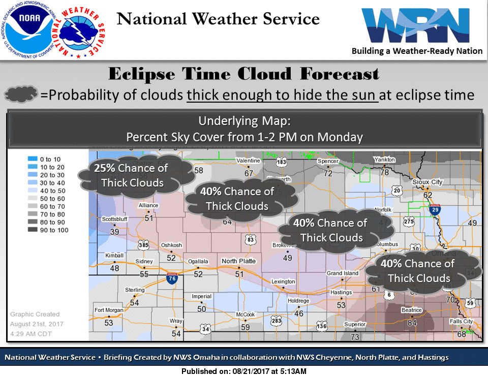 Clouds for #Eclipse2017: broken but thin, could thicken in southeast NE this aftn. Better view of sky in central, western NE. #newx #iawx