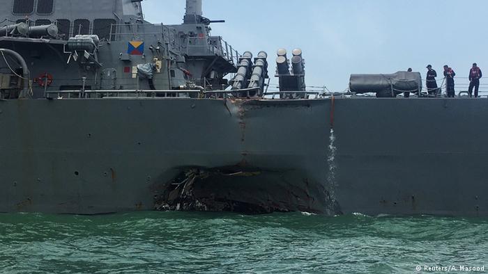 Destroier dos EUA colide com petroleiro a leste de Cingapura https://t.co/Vm7uQy8xC2