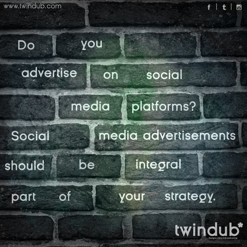#Socialmedia #advertisements should be an integral part of your #strategy. #branding #socialmediabranding #marketing #twindub <br>http://pic.twitter.com/tJVJugcPo7
