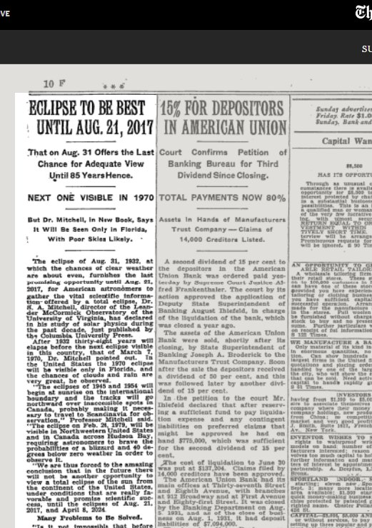 Aug 14, 1932, NYT story. Pointing to us. Today. Here and now.