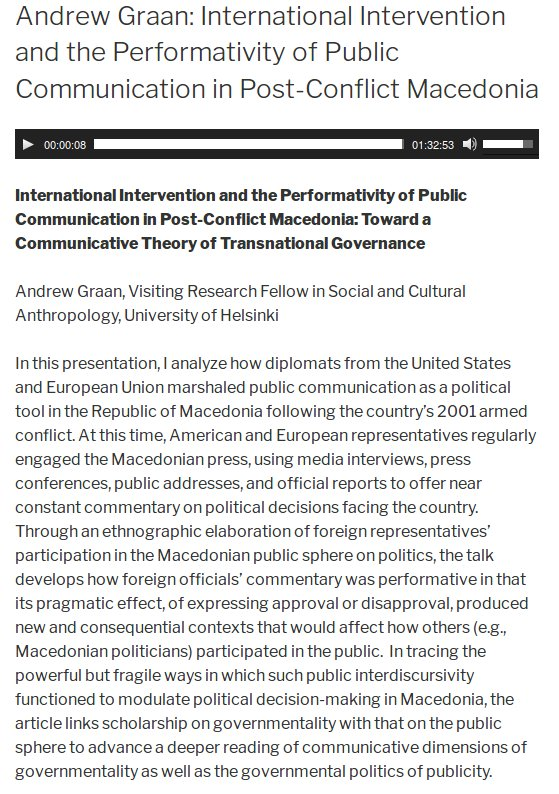 #Anthropology at @helsinkiuni podcast update: Andrew Graan on public communication in #post-conflict #Macedonia  http:// blogs.helsinki.fi/anthropology/2 016/12/09/andrew-graan-international-intervention-and-the-performativity-of-public-communication-in-post-conflict-macedonia/ &nbsp; … <br>http://pic.twitter.com/bLYJwEdu5u
