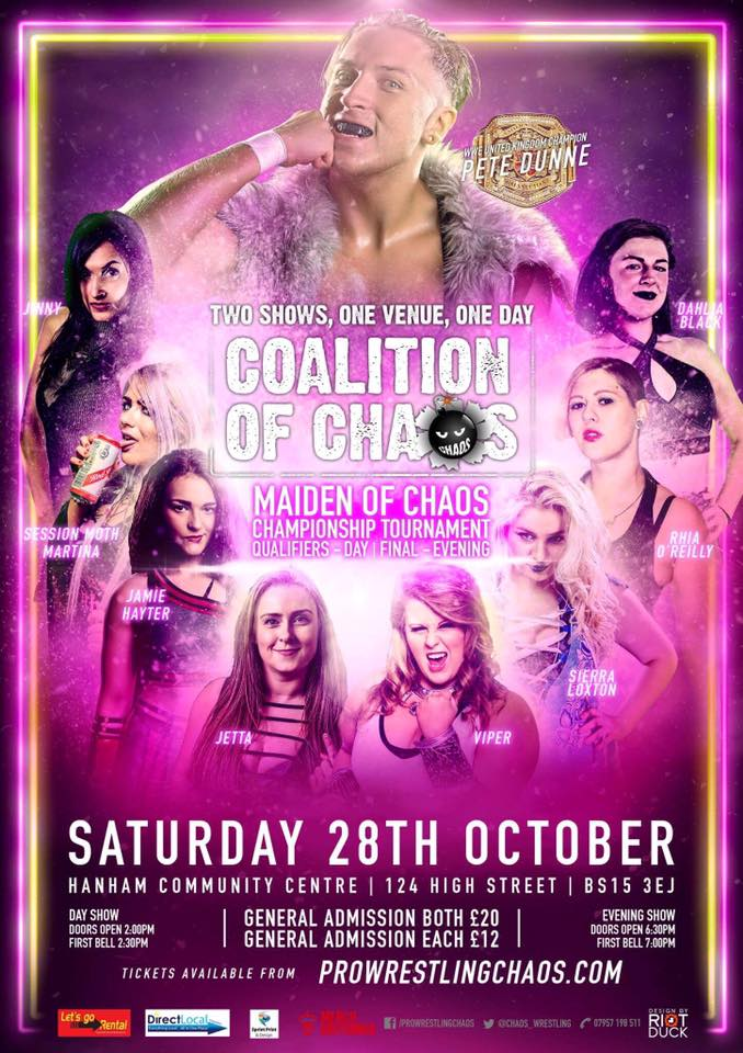 On Sale Now! @chaos_wrestling Coalition of Chaos 28/10 #Bristol 2 shows, 1 day! Tickets  http:// ow.ly/spZV30eyzSF  &nbsp;  <br>http://pic.twitter.com/fLtmrljGlU