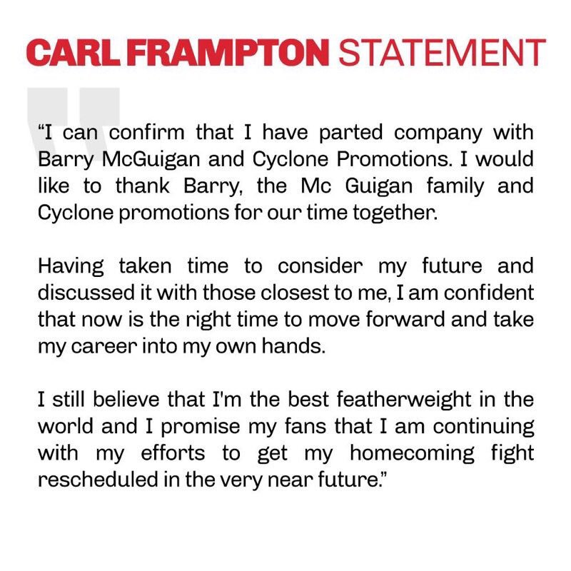 Carl Frampton confirms break up with Cyclone Promotions. https://t.co/...