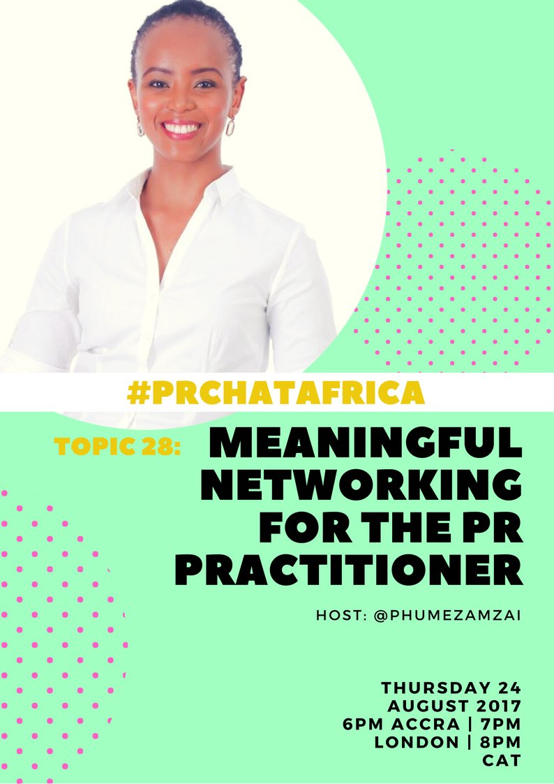As #PR practitioners, we are our own clients - and on #PRChatAfrica this Thursday, we&#39;ll be discussing how well we #network for ourselves<br>http://pic.twitter.com/3ITnDd8R2K