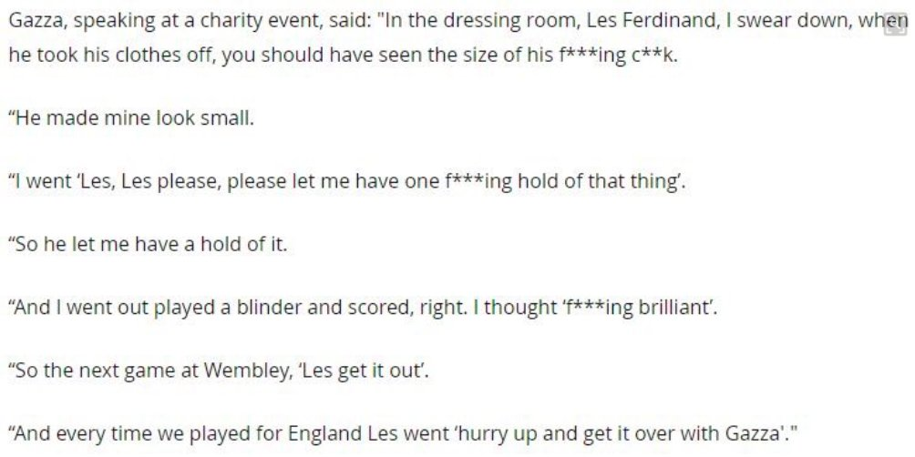 QUOTE: Paul Gascoigne on his pre-match ritual with Les Ferdinand. 😂👏 h...