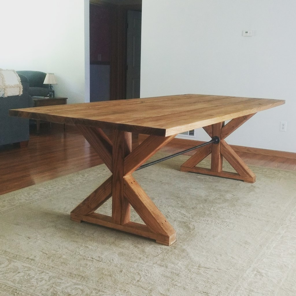Progress!!! We built our 8 ft long dining table this weekend! Now for the 10 chairs!  This is my dream table! #farmhouse #diy <br>http://pic.twitter.com/QkZNZUkE4E