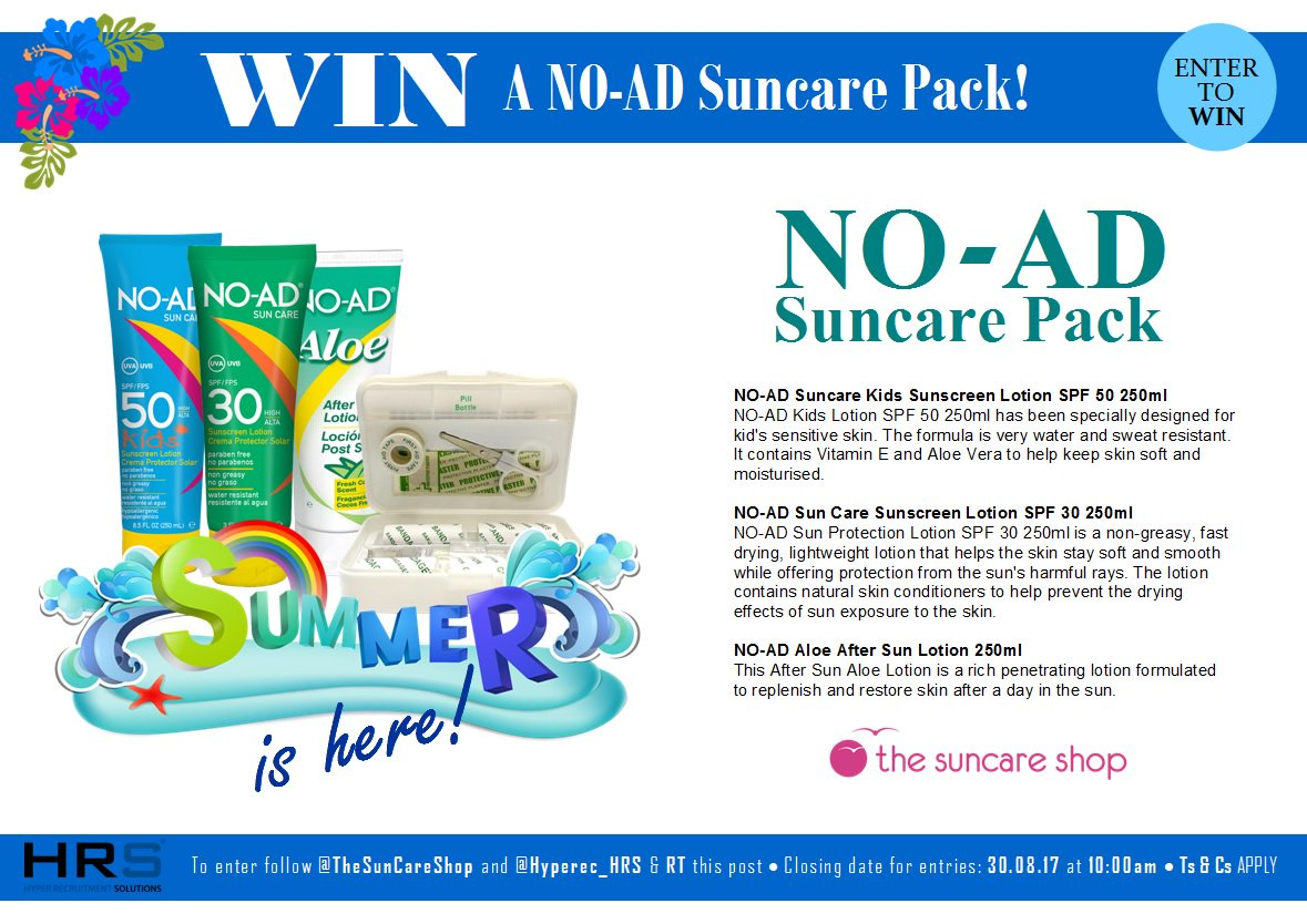 #Competition #giveaway #WIN a No-Ad Suncare Pack! Simply RT &amp; follow @TheSunCareShop and @Hyperec_HRS #sun #summer #hols #holidays #relax<br>http://pic.twitter.com/Iw2p6WPqwg