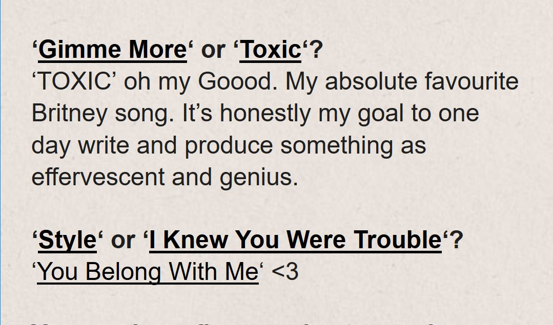 Lorde answering the questions we&#39;ve always needed someone to ask, in her chat with Beat mag. #taylor #britney <br>http://pic.twitter.com/T35Ul0qMFT
