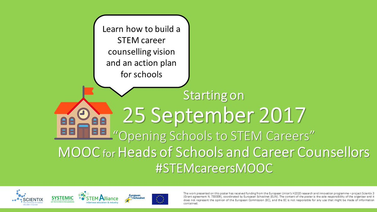 New #MOOC with #career orientation on #STEM education open for registration! #STEMcareersMOOC starts on 25/09!  http:// bit.ly/STEMcareerMOOC  &nbsp;  <br>http://pic.twitter.com/ZFw8AqskqD