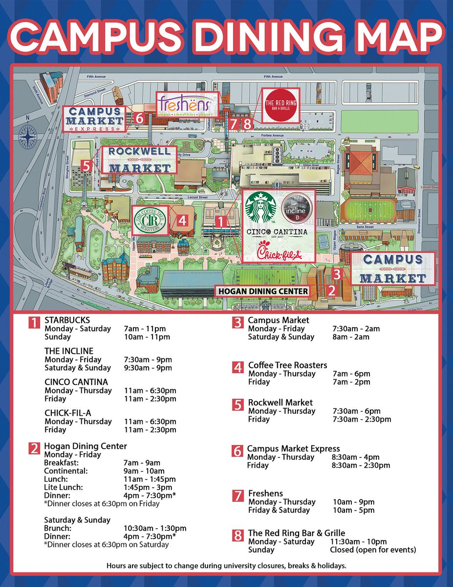 Duquesne Dining On Twitter Need A Map Of Where To Eat On Campus