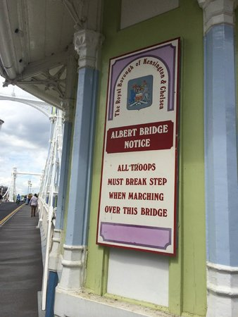 Signs on Albert Bridge order troops to break step while marching over it, to avoid damaging it with vibrations. #tour #London #bus #Classic<br>http://pic.twitter.com/A7hycPaiD9